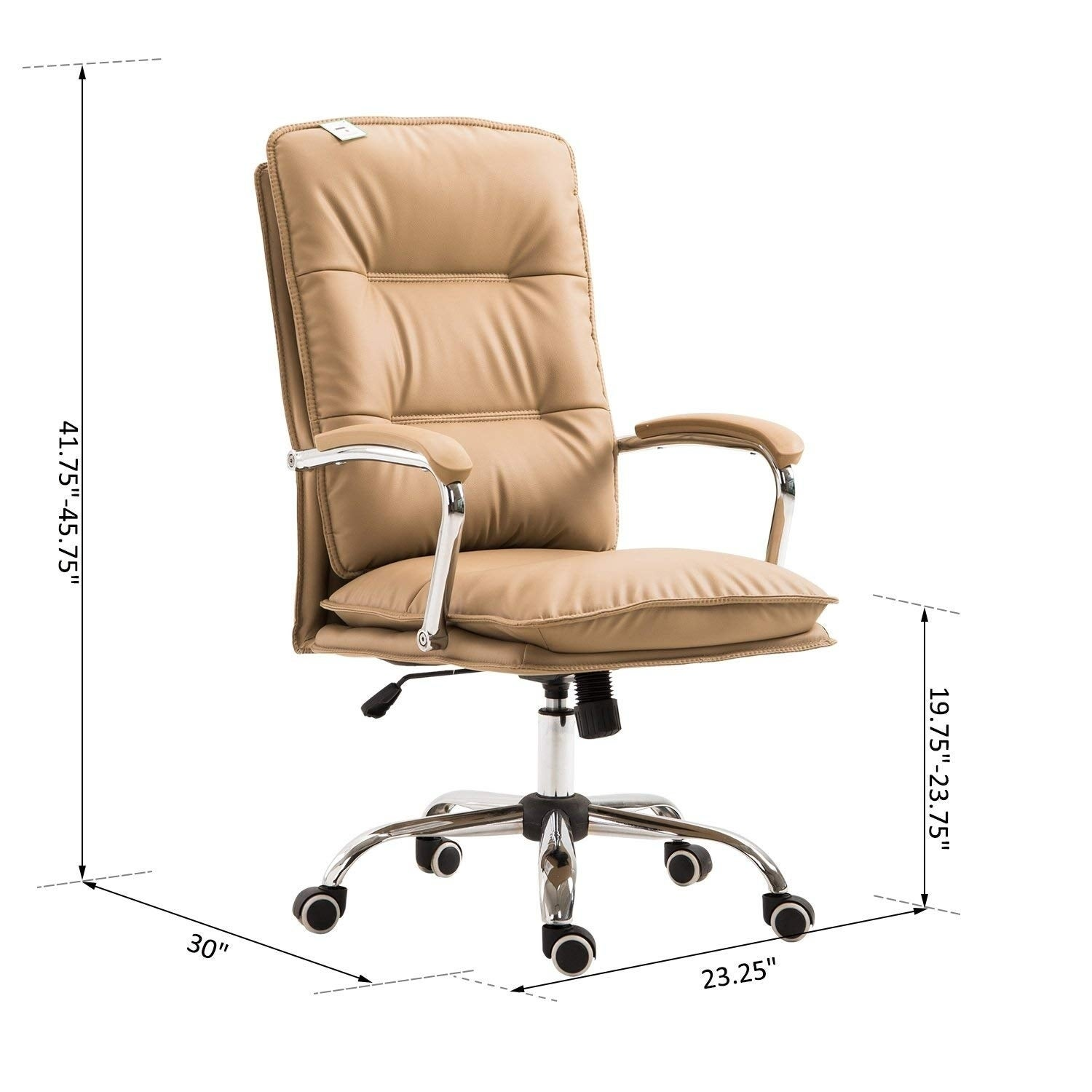 Shop Homcom High Back Pu Leather Executive Home Office Chair With Lumbar Support Light Tan Overstock 23052756
