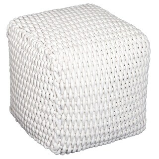 "HomCom Modern 16"" Stylish Comfortable Woven Cable Knit Rope Cube Ottoman Footrest - Cream White"