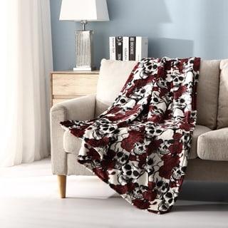 Link to Asher Home Botanical Skulls Plush Throw Blanket Similar Items in Blankets & Throws