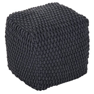 "HomCom Modern 16"" Stylish Comfortable Woven Cable Knit Rope Cube Ottoman Footrest - Dark Grey"