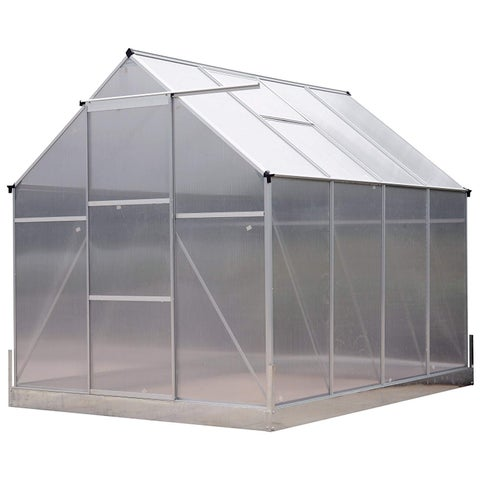 Outsunny 8' x 6' x 7' Polycarbonate Aluminum Framed Portable Walk-In Garden Greenhouse With Adjustable Roof