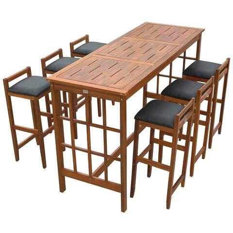 HomCom 7 Piece Acacia Wood Iconic Prairie School Style Bar Height Dining Set - Table/ 6 Stools