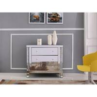 Mirrored Glass and Crystal 35.5-inch 3-drawer Cabinet