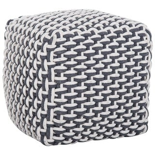 """HomCom Modern 16"""" Stylish Comfortable Woven Cable Knit Rope Cube Ottoman Footrest - White / Black"""