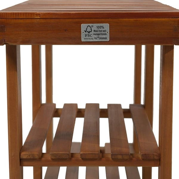 Superb Shop Homcom 3 Tier Acacia Wood Rustic Country Entryway Bench Gmtry Best Dining Table And Chair Ideas Images Gmtryco
