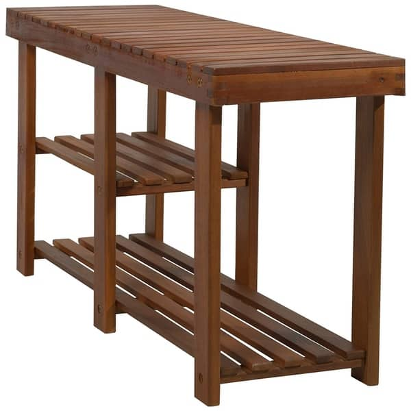 Magnificent Shop Homcom 3 Tier Acacia Wood Rustic Country Entryway Bench Gmtry Best Dining Table And Chair Ideas Images Gmtryco