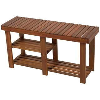 HomCom 3-Tier Acacia Wood Rustic Country Entryway Bench With Shoe Storage - Teak