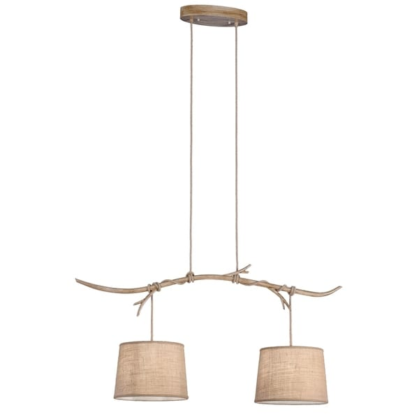 Shop Rustler Brown Wood 2-light Kitchen Pendant Light