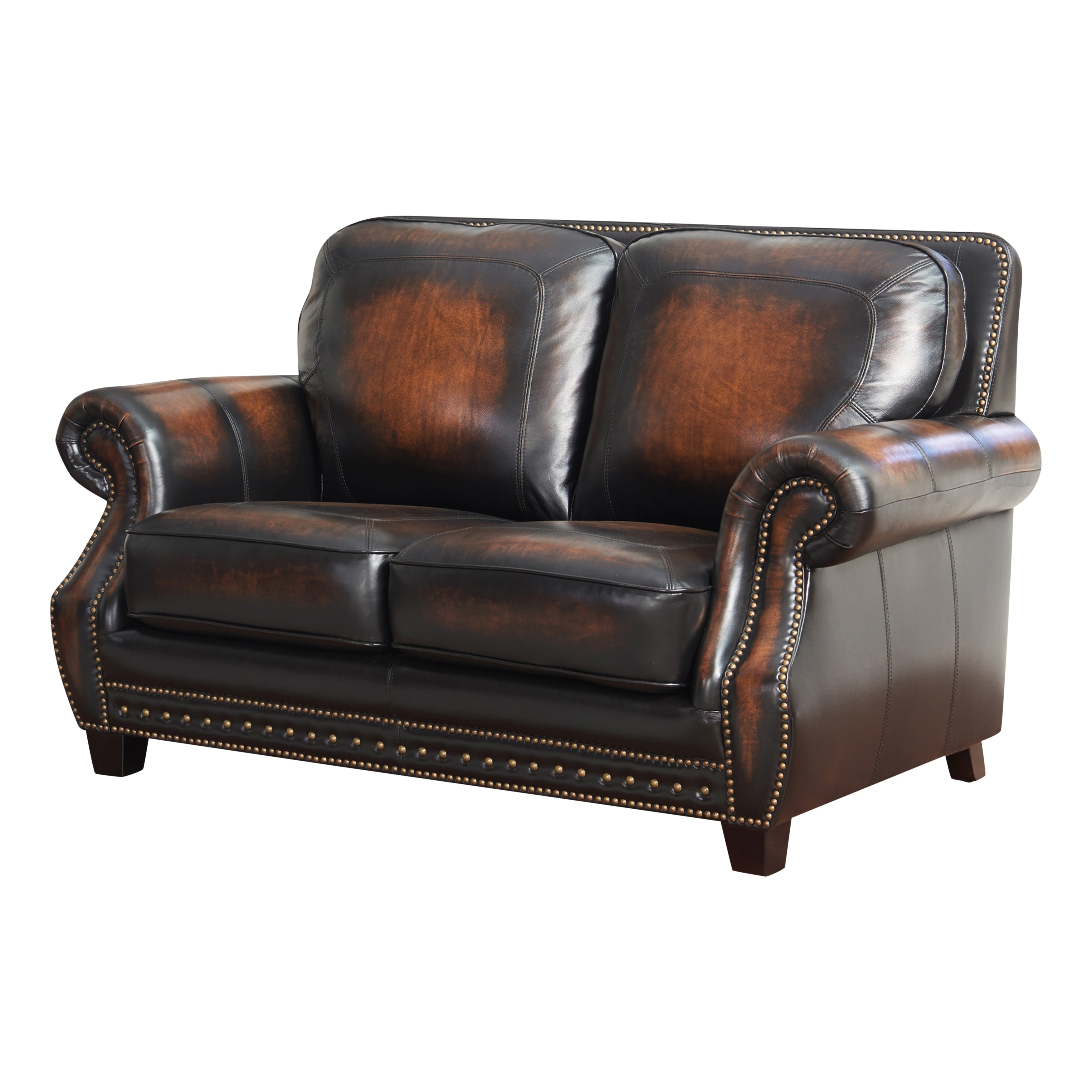 Pleasant Abbyson Crawford Leather Loveseat Unemploymentrelief Wooden Chair Designs For Living Room Unemploymentrelieforg
