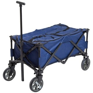 Outsunny 135 Quart Soft-Sided Folding Insulated Cooler Cart Utility Wagon With Wheels - Blue / Black