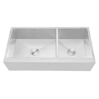 Flat Apron-Front Stainless Steel 42 in. x 21 in. x 10 in. 16G Double Bowl 60/40 Zero Radius Kitchen Sink - Silver