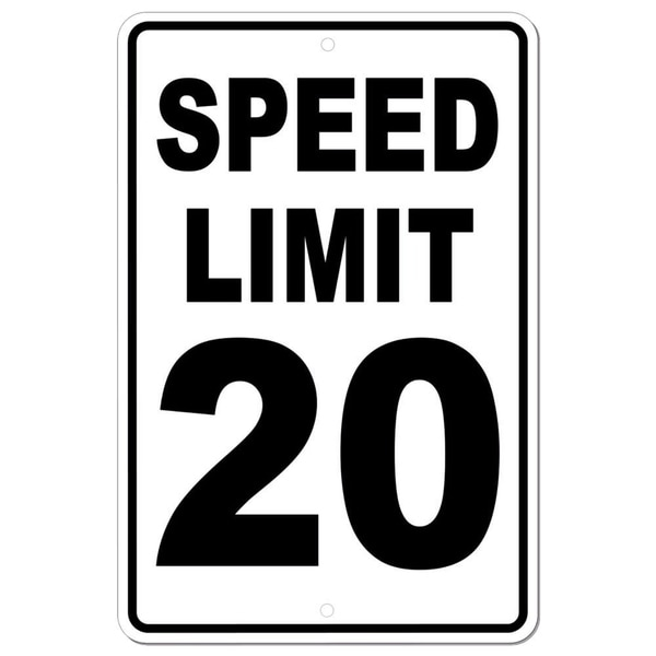 "Speed Limit 20 Sign METAL mph slow warning traffic 8"" x 12"""