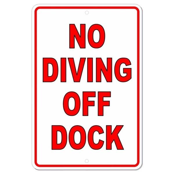 """No Diving Off Of Dock Metal Sign Warning Swimming Lake 8"""" x 12"""""""