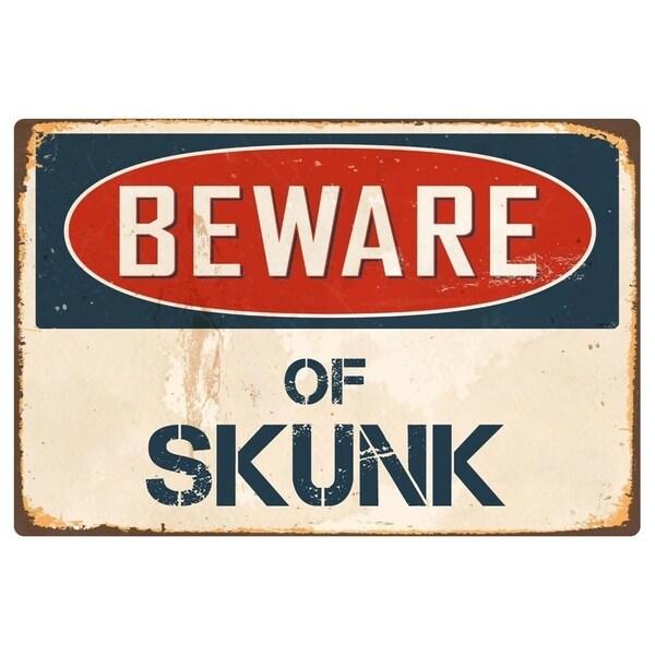 "Beware Of Skunk 8"" x 12"" Vintage Aluminum Retro Metal Sign"