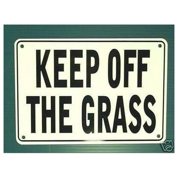"""Keep Off The Grass Warning Sign Metal, Heavy Duty 7"""" x 10"""""""