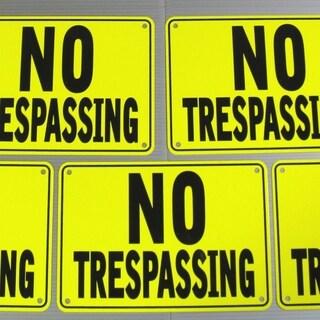 "No Tresspassing Signs, Yellow, Metal 5 Sign Set 10"" x 7"""
