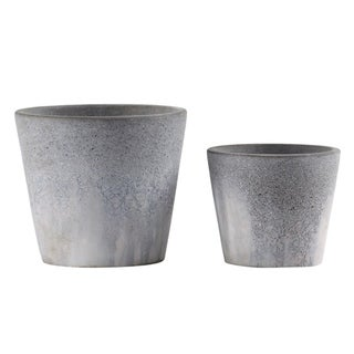 Urban Trends Cement Round Pot with Cracked Design Body and Tapered Bottom in Washed Finish, Set of 2 - Gray