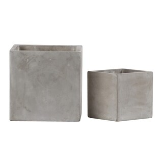 Urban Trends Cement Square Pot with Smooth Design Body in Natural Finish, Set of 2 - Light Gray