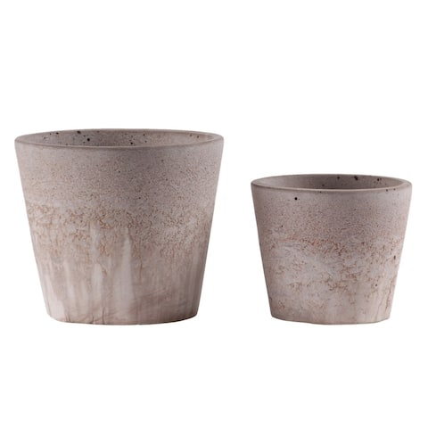 Urban Trends Cement Round Pot with Cracked Design Body and Tapered Bottom in Washed Finish, Set of 2 - Apricot