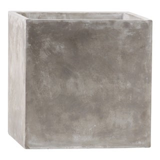 Urban Trends Cement Square Pot with Smooth Design Body in Natural Finish - Light Gray