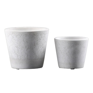 Urban Trends Cement Round Pot with Cracked Design Body and Tapered Bottom in Washed Finish, Set of 2 - White