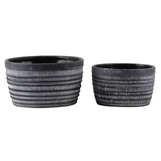 Urban Trends Cement Round Pot with Banded Top and Rustic Pattern Design Body in Washed Finish, Set of 2 - Dark Gray