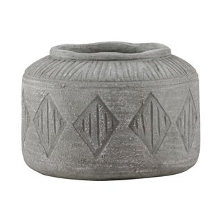 Urban Trends Cement Round Pot with Wide Mouth and Diamond Pattern Design Body in Washed Concrete Finish, Large - Gray