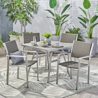 Alcott Outdoor Aluminum 5 Piece Dining Set with Wicker Seats by Christopher Knight Home