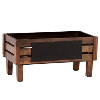Urban Trends Wood Rectangular Crate with Black Rectangular Label and 4 Legs Small in Stained Wood Finish - Brown