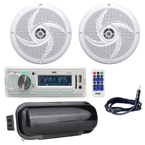 Pyle Radio Headunit Marine Boat Receiver with (2) 5.25 Inch 180W Low-Profile Slim Style Waterproof Rated Marine Speakers