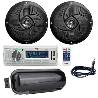 "Pyle Stereo Radio Headunit Marine Boat Receiver with (2) 5.25"" 180W Low-Profile Slim Style Waterproof Rated Marine Speakers"