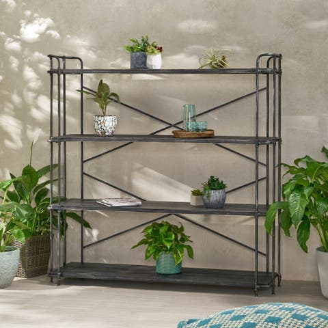 """Cedarburg Outdoor Industrial 4 Shelf Firwood Bookcase by Christopher Knight Home - 64.00"""" W x 17.50"""" D x 65.50"""" H"""