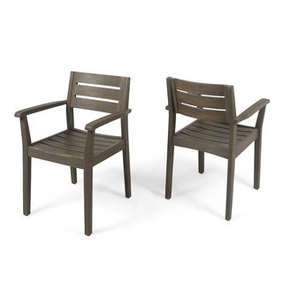 Stamford Outdoor Dining Chairs Acacia Wood (Set of 2) by Christopher Knight Home