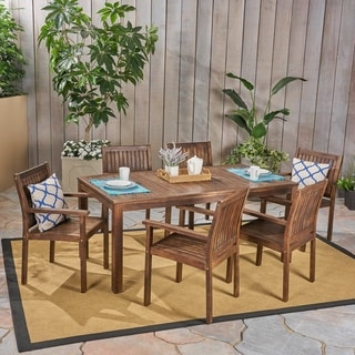 Fallon Outdoor 7-Piece Acacia Wood Dining Set by Christopher Knight Home