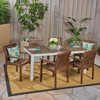 Bodum Outdoor 7-Piece Acacia Wood Dining Set by Christopher Knight Home