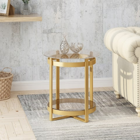 Solidago Modern Glam Round Glass End Table with Iron Frame by Christopher Knight Home
