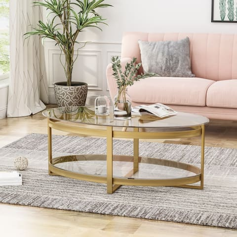 Plumeria Modern Glam Tempered Glass Oval Coffee Table with Iron Frame by Christopher Knight Home