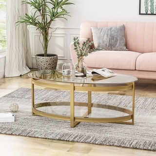 Link to Plumeria Modern Glam Tempered Glass Oval Coffee Table with Iron Frame by Christopher Knight Home Similar Items in Living Room Furniture