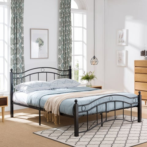 Bouvardia Queen-Size Bed Frame Iron Geometric Details Modern Contemporary by Christopher Knight Home