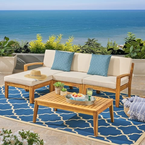 Grenada Outdoor 3-Seater Acacia Wood Frame Sectional Sofa Set with Water-Resistant Cushion by Christopher Knight Home