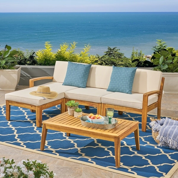 Grenada Outdoor 3-Seater Acacia Wood Frame Sectional Sofa Set with Water-Resistant Cushion by Christopher Knight Home. Opens flyout.
