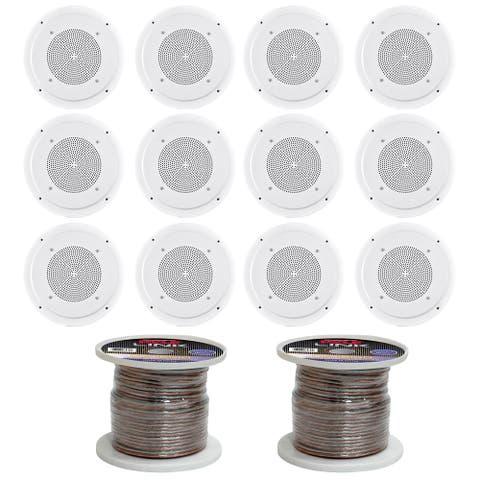 Pyle 6-1/2'' Full Range In-Ceiling Speaker System W/Transformer16 Gauge 100 ft. Spool of High Quality Speaker Zip Wire