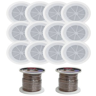 "Pyle Lot of 12/6.5"" Full Range In Wall/Ceiling Speakers for showroom Ofiice audio Stereo System with 200 ft Speaker"