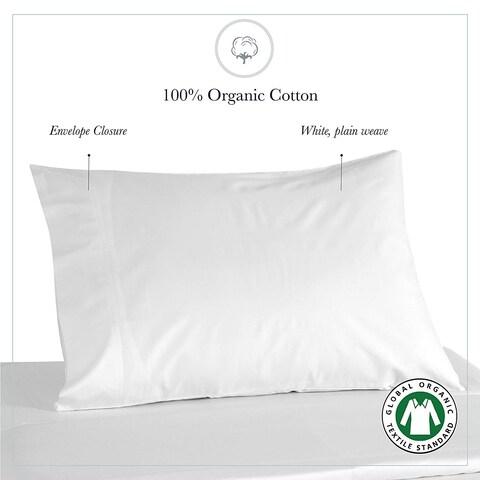 Organic Cotton White Pillow Case Pair 21X32