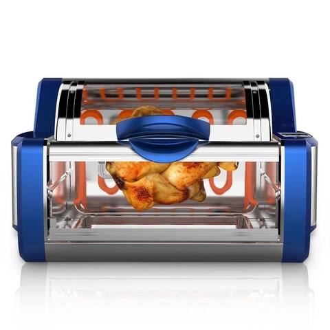 NUTRICHEF PKRTVG65BL Digital Countertop Rotisserie & Grill Oven Rotating Kitchen Cooker