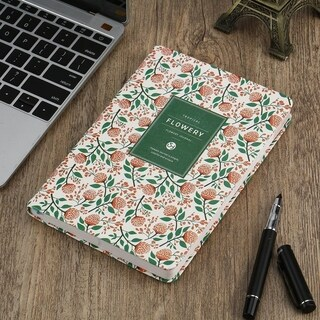 Vintage PU Leather Floral Printed Office Students Diary Notebook Planner Book - a6