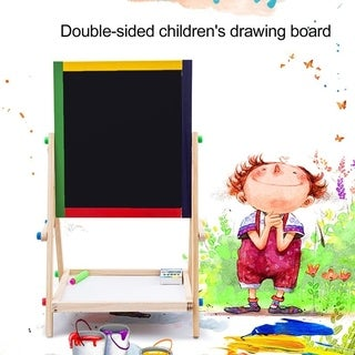 Adjustable Kids Drawing Board Folding Sketchpad Magnetic Double Wooden Panel