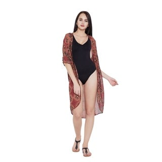 Canyon Rose Floral Polyester Women Beach Dress Kimono Bikini Cover Ups
