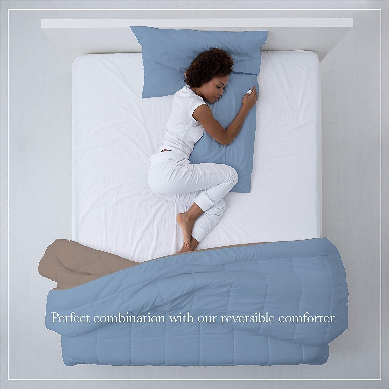 A1hc 100 Cotton Light Blue Plain Weave Pillowcase Pair Queen 21 X32 Overstock 23055568