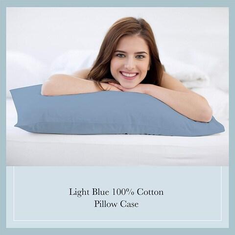 100% Cotton Light Blue Color Pillowcase Pair